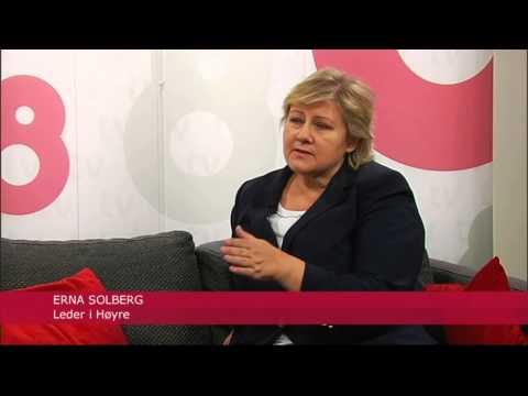 Benedikte St.Pierre interviewing Norwegian prime minister Erna Solberg for TV8 Norge