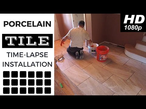 "Time Lapse Installation of 24"" X 12"" Porcelain Floor Tiles"