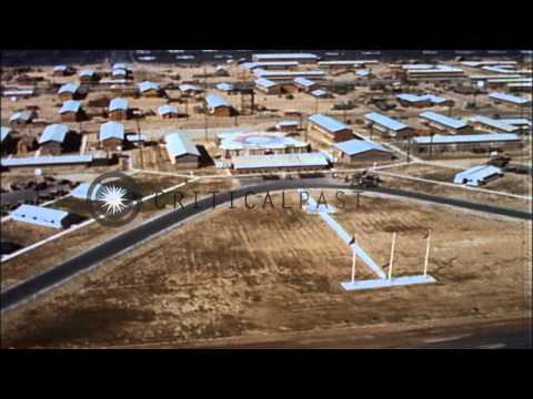 Ariel view of the base camp at 9th signal Battalion in Vietnam. HD Stock Footage