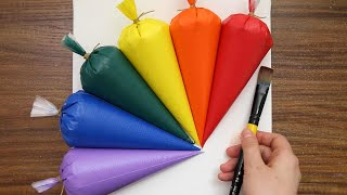 Colorful Simple Acrylic Painting on Canvas Step by Step #712|Satisfying Art ASMR