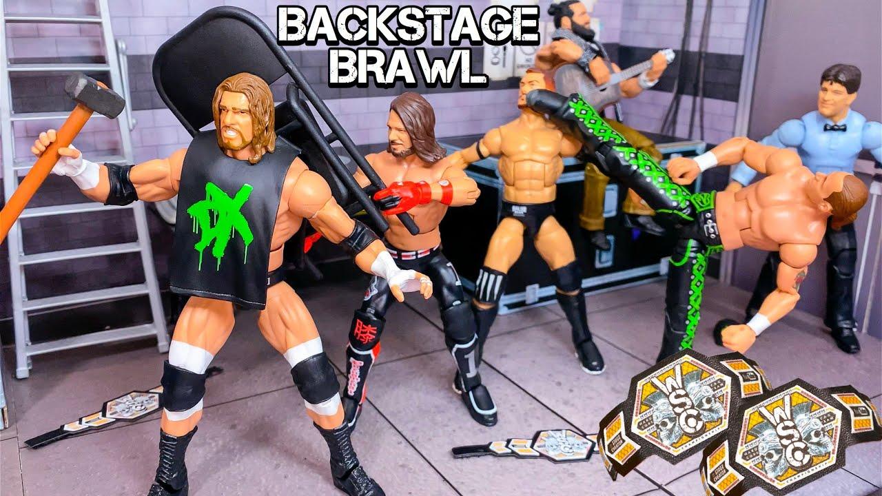 D-GENERATION X VS AJ STYLES & FINN BÁLOR BACKSTAGE BRAWL! HARDCORE TAG TEAM CHAMPIONSHIP!
