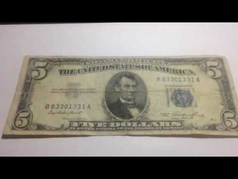 1953 United States $5 Silver Certificate - YouTube