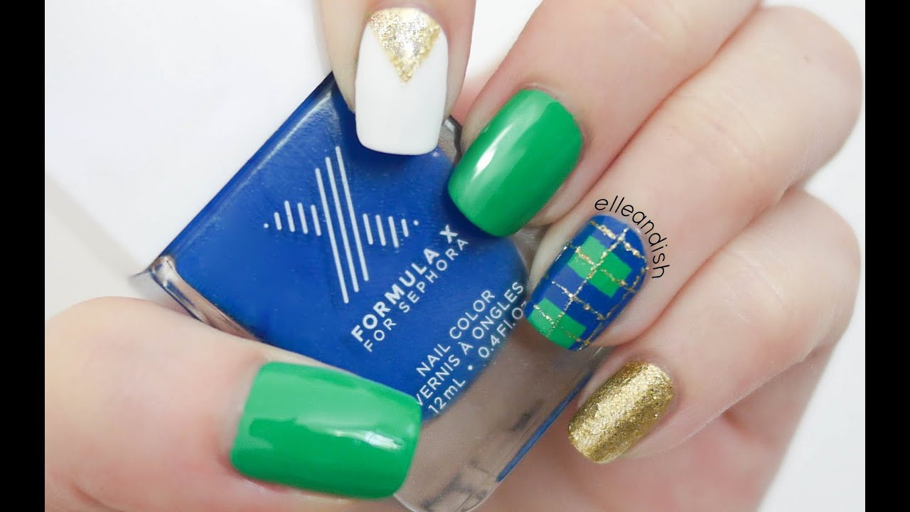 Formula X - Blue & Green Plaid Nails - YouTube