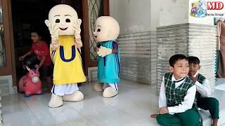 Anak-anak Dibalik Costume Badut Upin & Badut Ipin, Qyla Lucu Hibur Temannya Asik Joget Balonku Ada 5