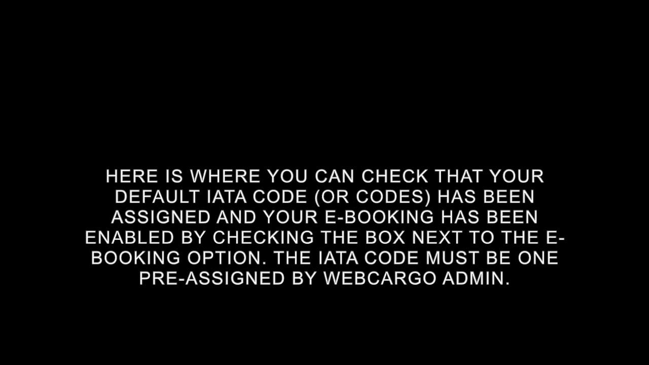 IATA configuration for eBookings on WebCargo Sky