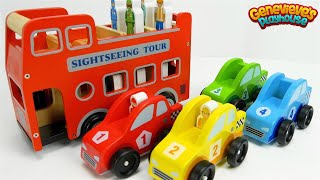 Learn Colors and Community Vehicles Names with fun Wooden Toy Cars!