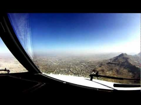 Sanaa Approach and Landing. Cockpit View.