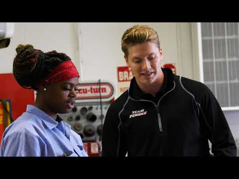 Josef Newgarden talks with students at Breithaupt Career and Technical Center