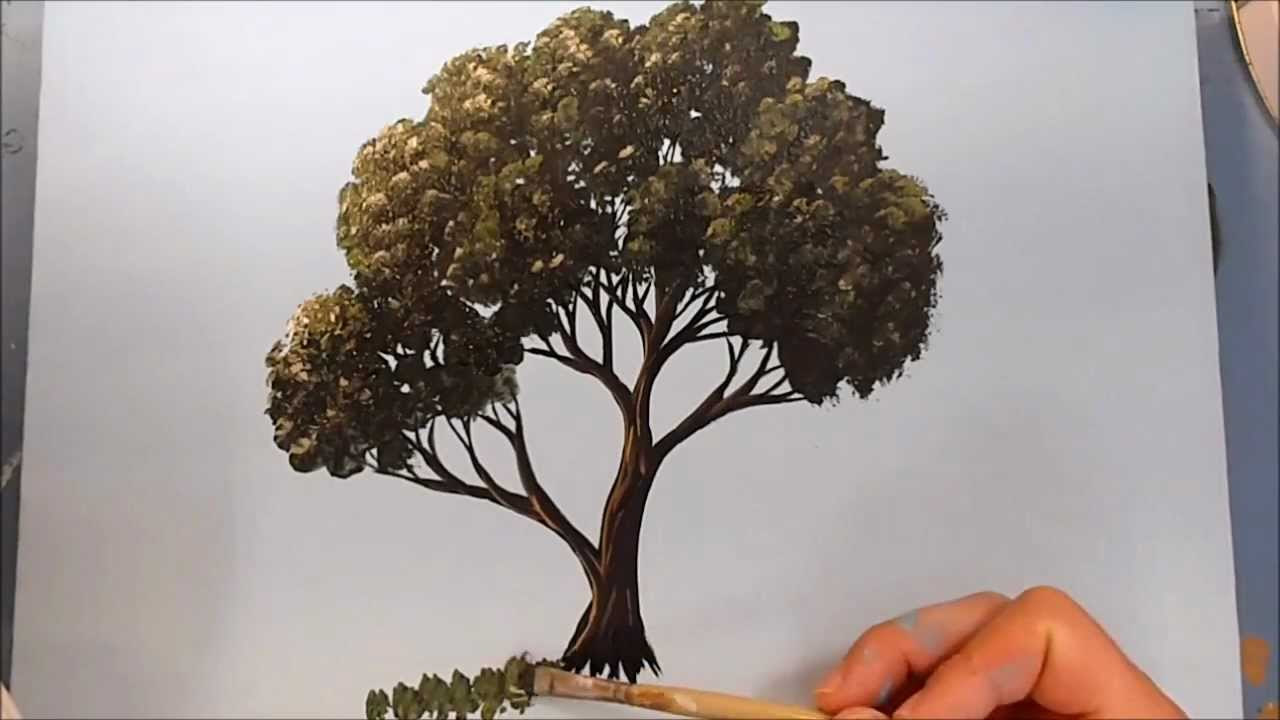 how to paint a tree in acrylics youtube. Black Bedroom Furniture Sets. Home Design Ideas