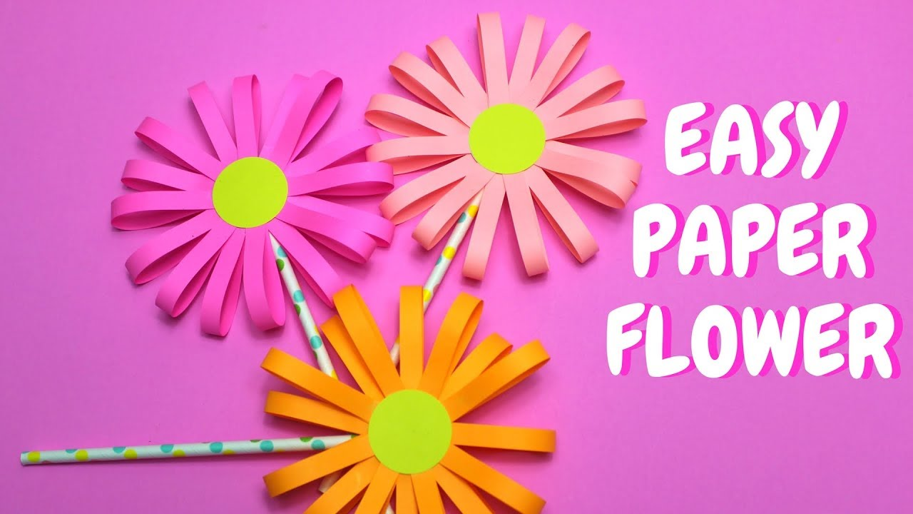 Easy Paper Flower Paper Craft Mothers Day Craft Youtube