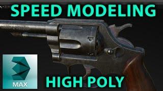 3d Gun Modeling (highpoly revolver / pistol ) timelapse 3DSMax 3D weapon Tutorial