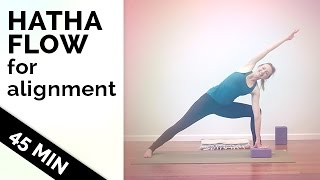 hatha yoga flow how to improve your flexibility and alignment   yoga for all levels 45 min