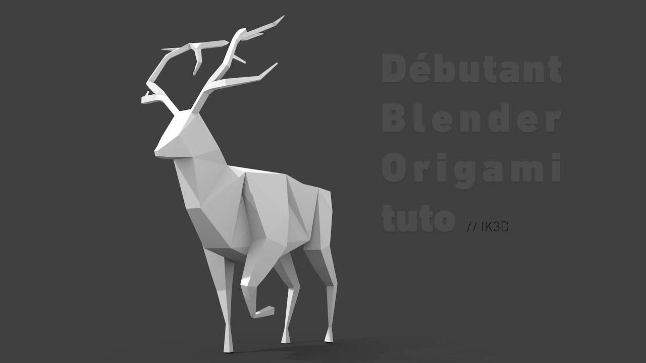 d butant blender origami tuto ik3d youtube. Black Bedroom Furniture Sets. Home Design Ideas