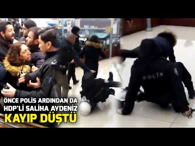 HDP'li Salihe Aydeniz, kaygan zeminde polisle birlikte yere düştü