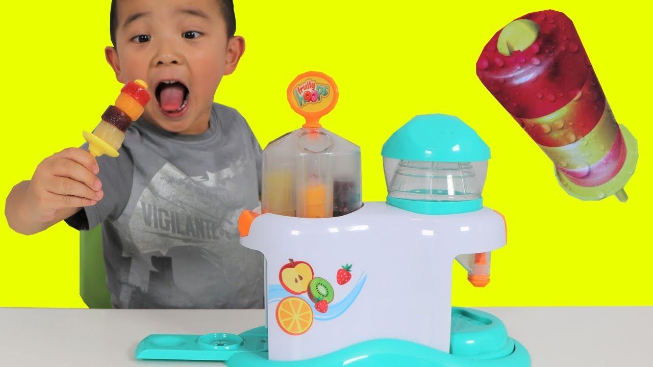 Making Icy Pop Fruity Hoops Factory Fun DIY Yummy Kids