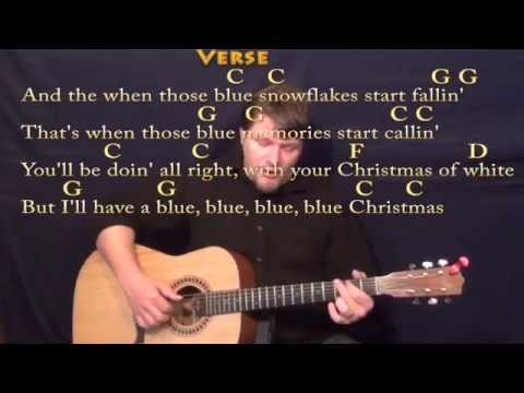 Blue Christmas - Fingerstyle Guitar Cover Lesson in C with Chords/Lyrics