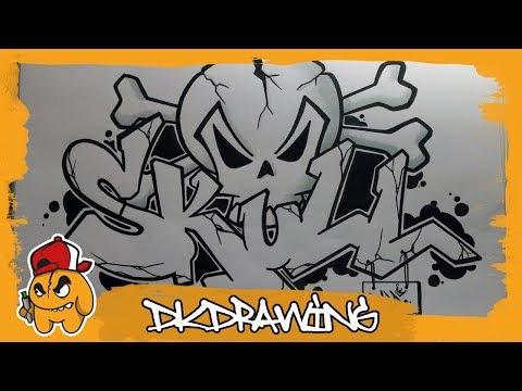 How to draw graffiti skull letters skull & crossbones
