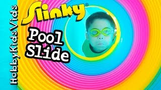GIANT Slinky SWIMMING! Pool Slide Waterfall Cut Scenes of Worlds Biggest Egg HobbyKidsVids