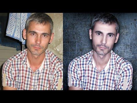 Обработка мужского портрета с заменой фона в фотошопе