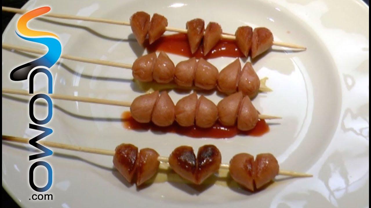 Salchichas Con Forma De Corazón Heart Sausages Youtube