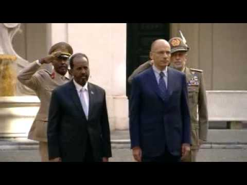 Roma - Letta incontra Hassan Sheikh Mohamud - Cerimonia d'arrivo (18.09.13)