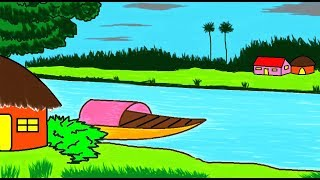 How to draw a Scenery in MS Paint | Simple Easy Painting in MS Paint | Learn Drawing | ComeTube