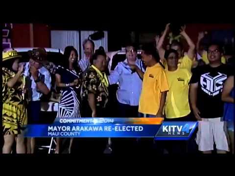 Maui Mayor Alan Arakawa, supporters celebrate his reelection