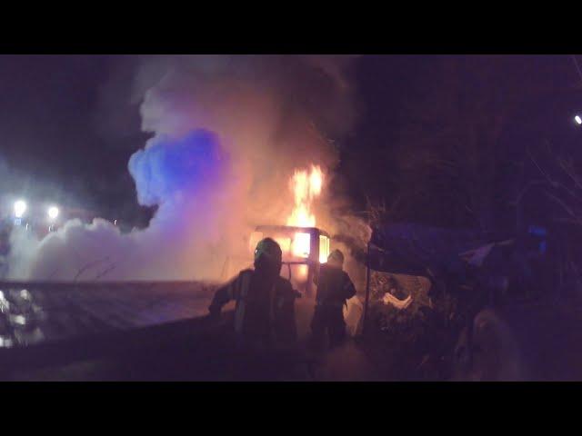 Požar tovornega vozila - Dvorje, 1. 3. 2021, PGD Cerklje