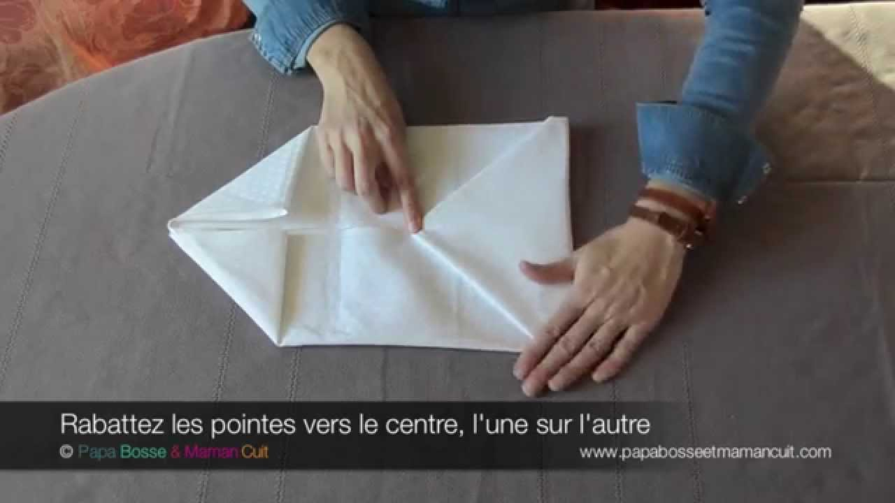 Pliage serviettes le pliage de serviette en pochette avec ou sans surprise youtube - Pliage serviette porte menu ...