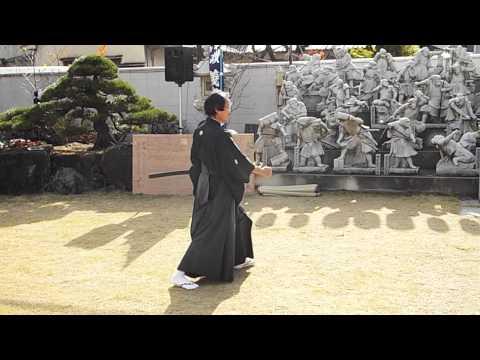 Iaido demonstration at the 47 Ronin memorial in Osaka. 12/14/2014