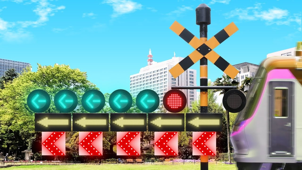大げさな合体ミニ踏切カンカン   railroad crossing