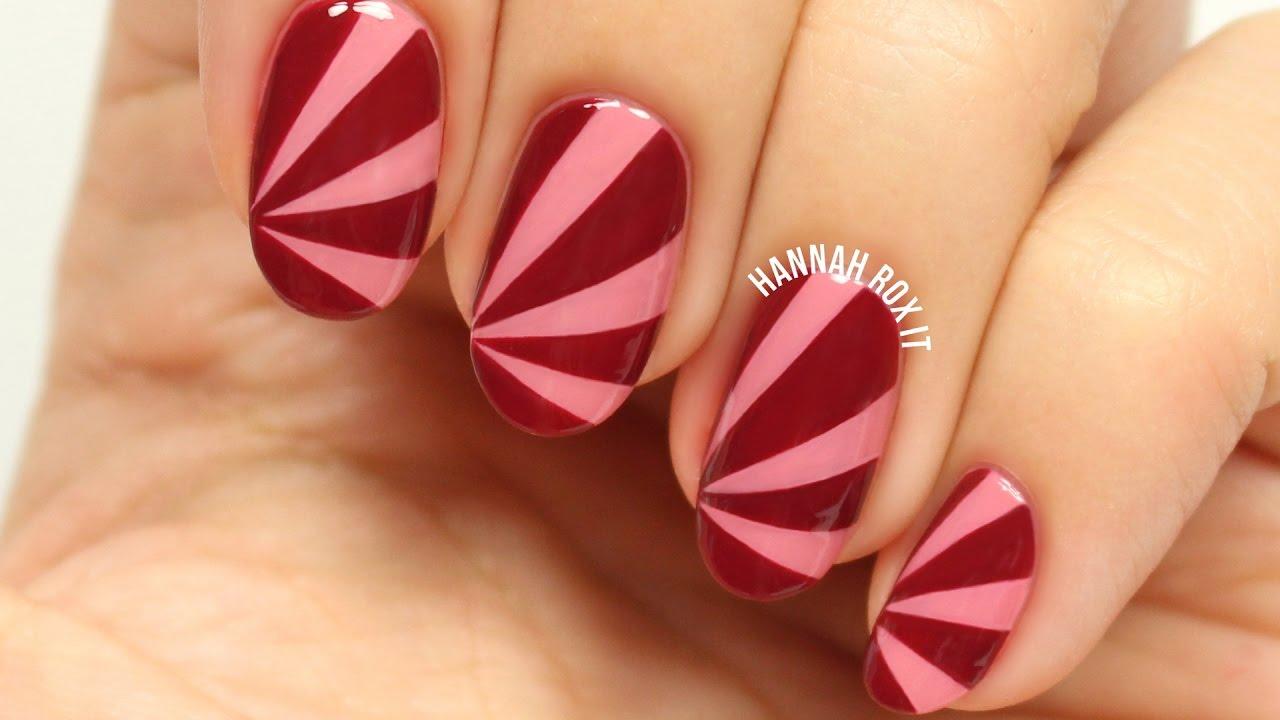 easy fall sun ray nail art