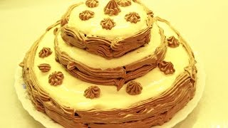 Очень вкусный бисквитный трехэтажный торт со сметанным кремом на день рождения.