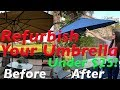 How to Paint a Sun Faded Old Outdoor Patio Umbrella or Outdoor Furniture with Spray Paint DIY