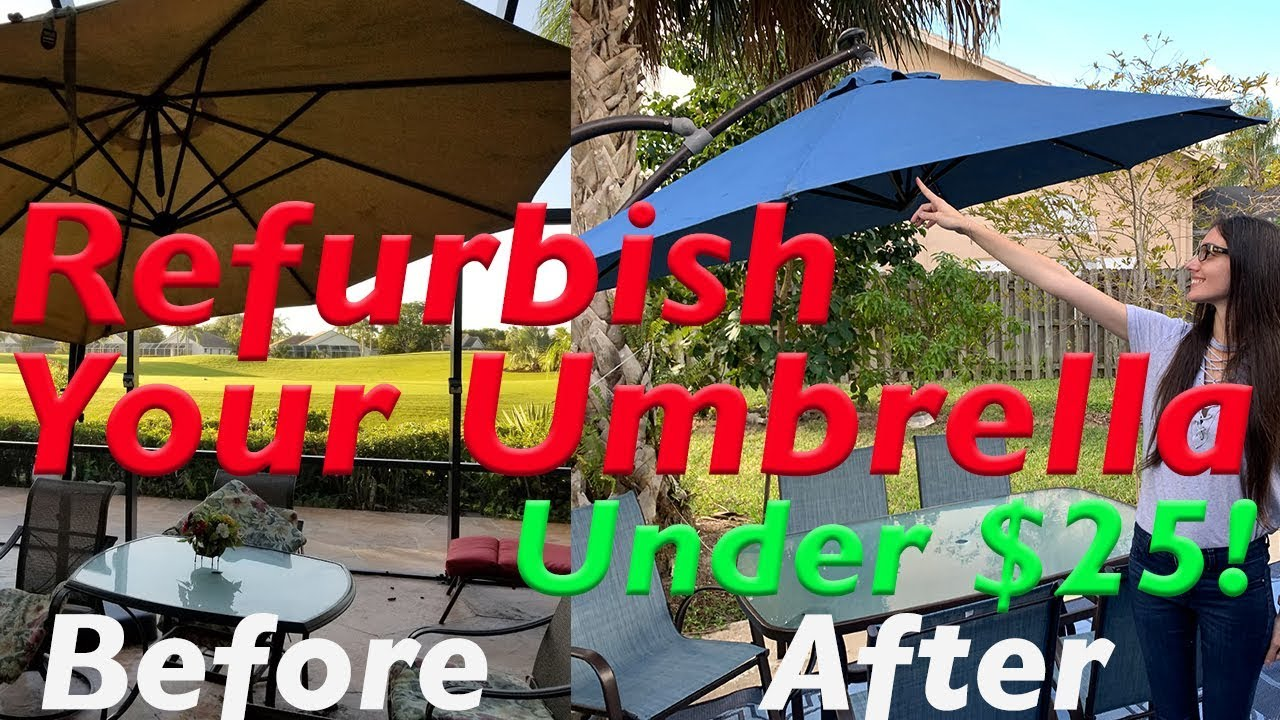 How To Paint A Sun Faded Old Outdoor Patio Umbrella Or Outdoor