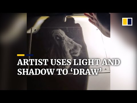Chinese artist uses light and shadow to 'draw'