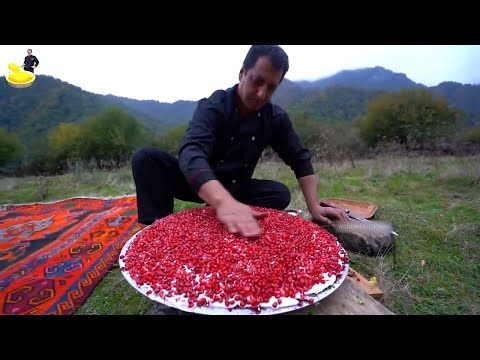 pomegranate-seeds-salad-recipe-with-green-and-potatoes-|-wilderness-cooking-recipes