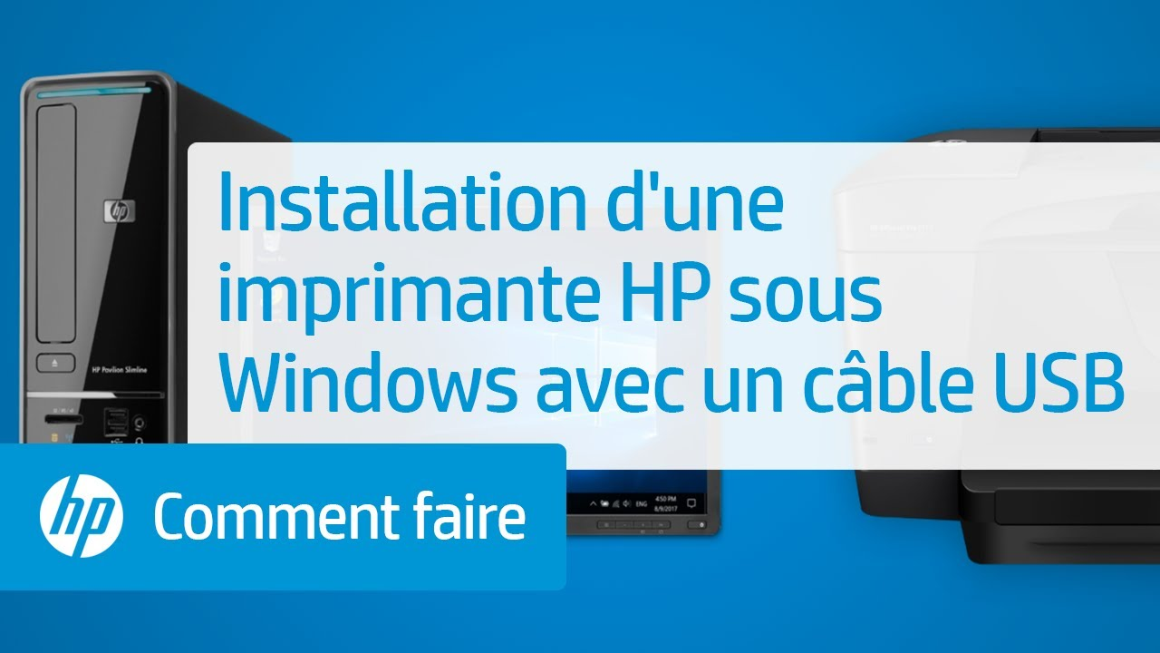 installation d 39 une imprimante hp sous windows avec un c ble usb youtube. Black Bedroom Furniture Sets. Home Design Ideas