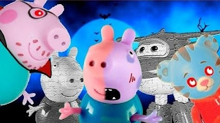 乔治猪发现僵尸和吸血鬼在他们Totoykids超级翅膀噩梦