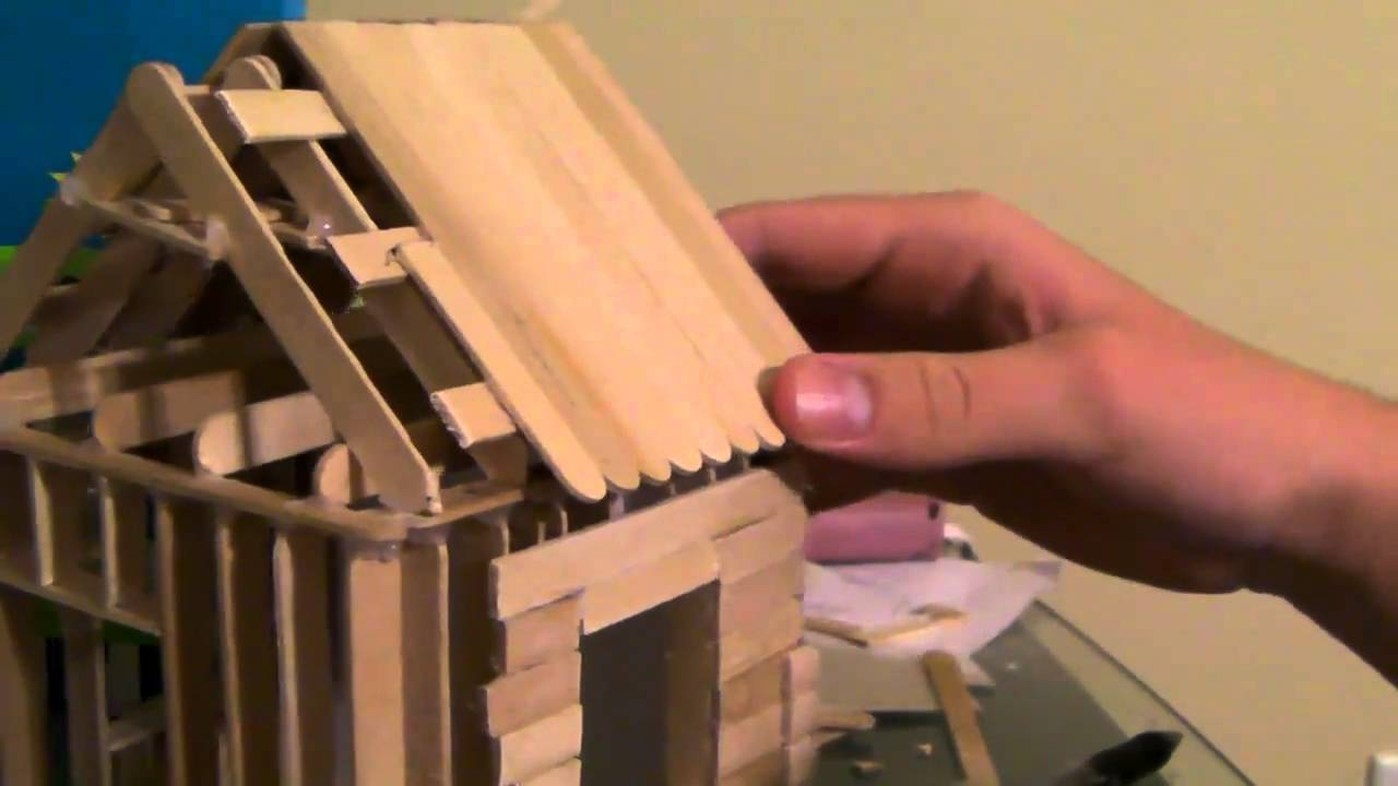 56 How To Build a Popsicle Stick House  Roofing Part 2  YouTube