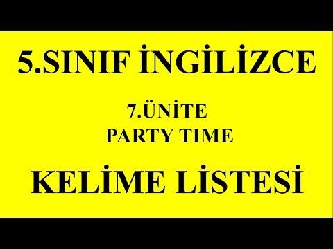 5.Sınıf İngilizce 7.Ünite Kelimeler (Party Time)