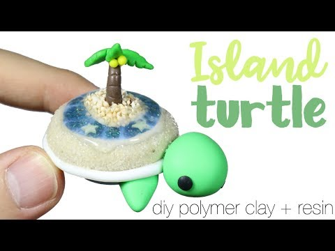 How to DIY Tropical Island Terrarium Turtle Polymer Clay/Resin Tutorial