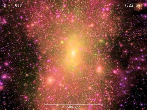 Cosmological simulation of universe evolution