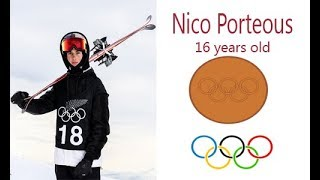 16-year old Nico Porteous, wins a bronze medal at halfpipe free style skiing  for New Zealand
