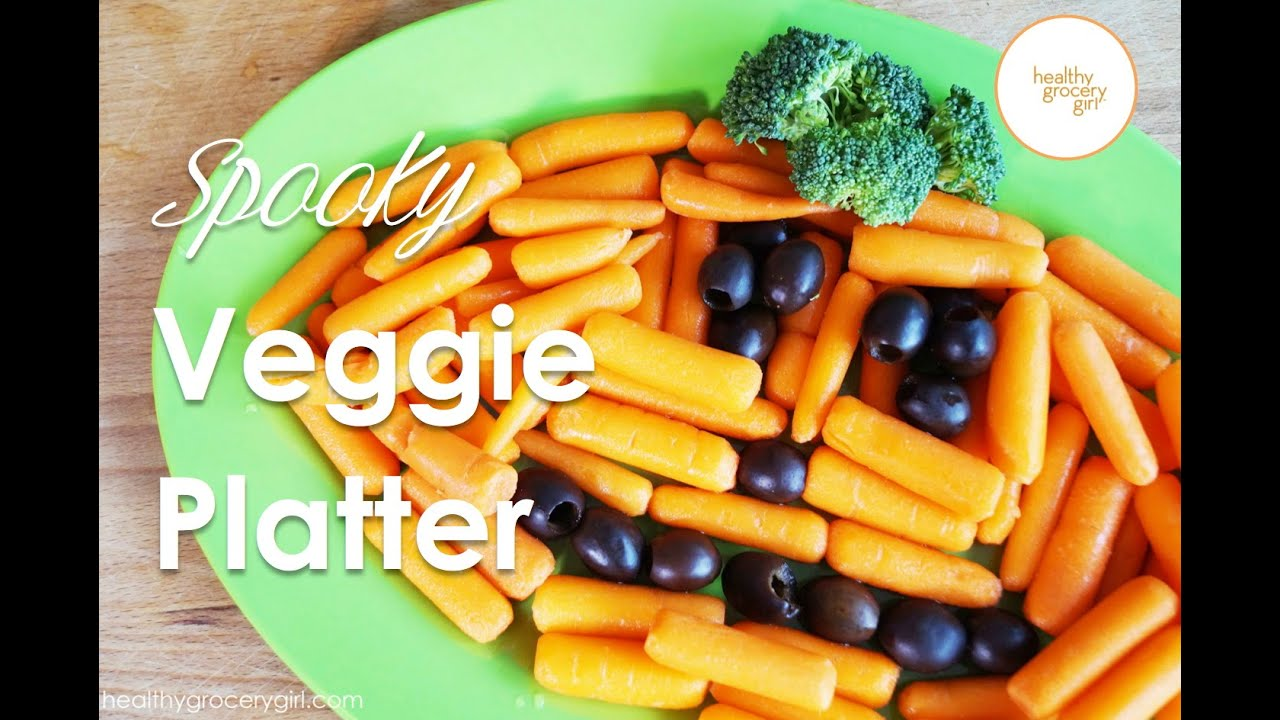 how to make a pumpkin vegetable platter easy halloween party recipe healthy grocery girl