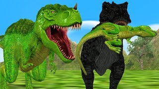 Giant Dinosaurs & Baby Dinosaurs T-Rex Fight Cartoon Animals Animation Short Movie For Children Kids
