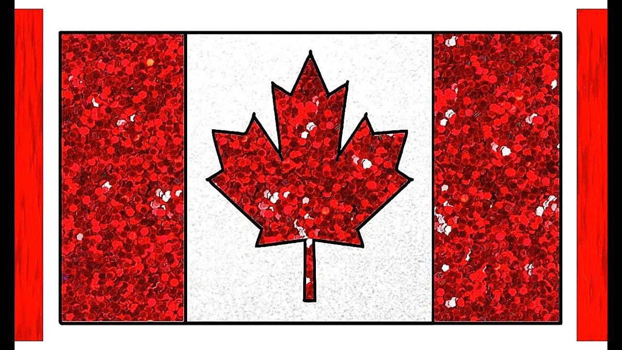 Canada Flag Drawing Glitter Color for Kids | How to Draw ...