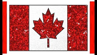 Canada Flag Drawing Glitter Color for Kids | How to Draw Flag of Canada | Little Channel | Flag draw