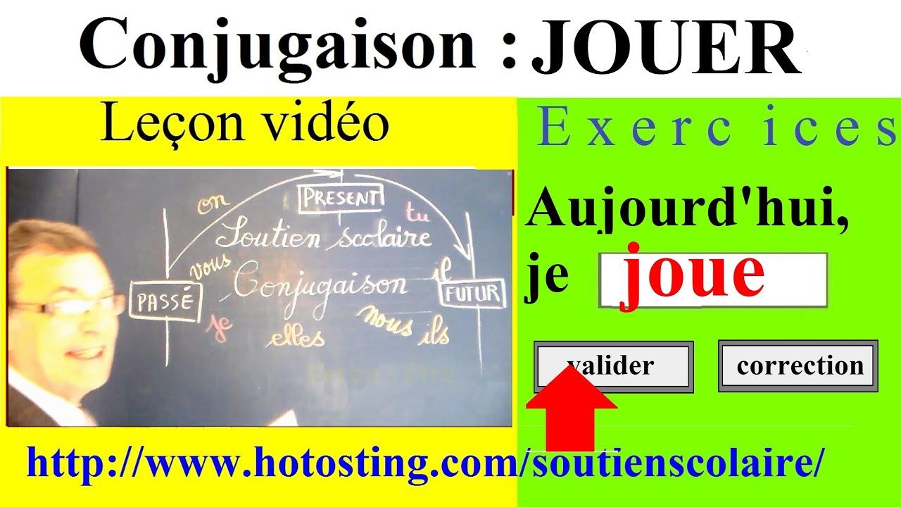 Conjugaison Ce1 Ce2 Verbe Jouer 1er Groupe Imparfait Present Futur Youtube