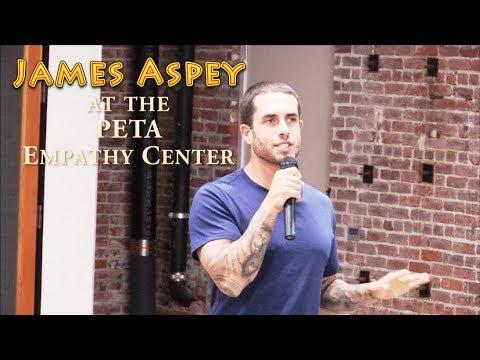Vegan Activist James Aspey speaking at the PETA Empathy Center in Los Angeles